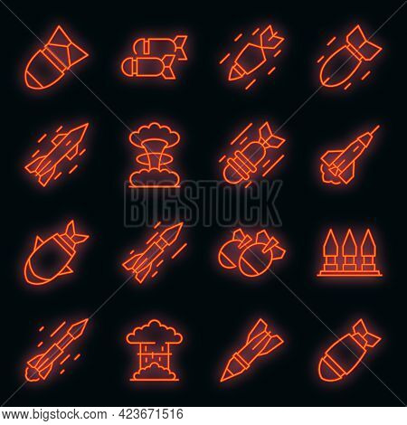 Missile Attack Icons Set. Outline Set Of Missile Attack Vector Icons Neon Color On Black