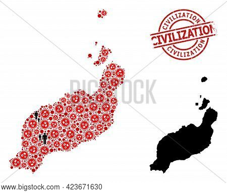 Collage Map Of Lanzarote Islands United From Flu Virus Elements And Population Items. Civilization S