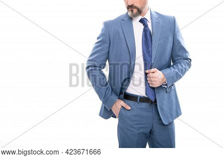 Cropped Grizzled Ceo In Businesslike Suit Isolated On White Copy Space, Formal Fashion