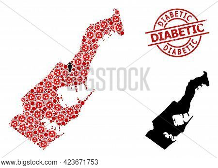 Collage Map Of Monaco United From Virus Outbreak Elements And Humans Icons. Diabetic Distress Seal S