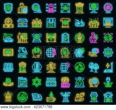 Ecologist Icons Set. Outline Set Of Ecologist Vector Icons Neon Color On Black