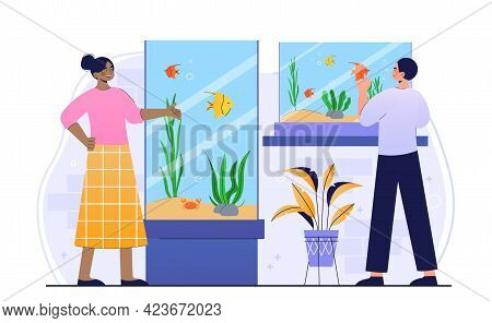 Male And Female Characters Are Visiting Fish Pet Shop Together. Young Man And Woman Choosing And Buy