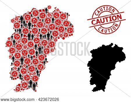 Mosaic Map Of Jiangxi Province United From Virus Icons And Men Icons. Caution Textured Seal Stamp. B