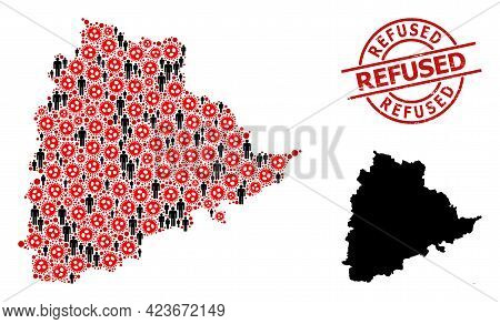 Collage Map Of Telangana State Organized From Covid Virus Items And People Elements. Refused Scratch
