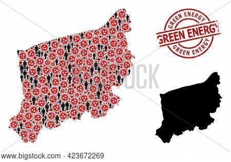 Collage Map Of West Pomerania Province Designed From Flu Virus Icons And Population Elements. Green
