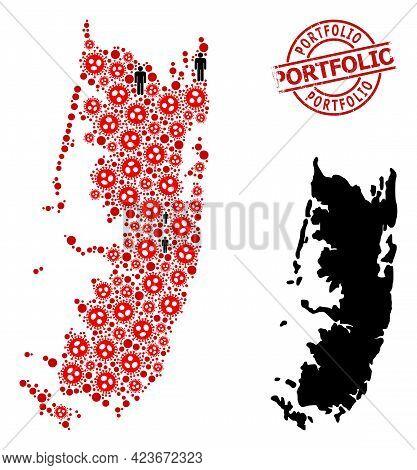 Collage Map Of Pemba Island United From Sars Virus Icons And Men Icons. Portfolio Grunge Watermark.