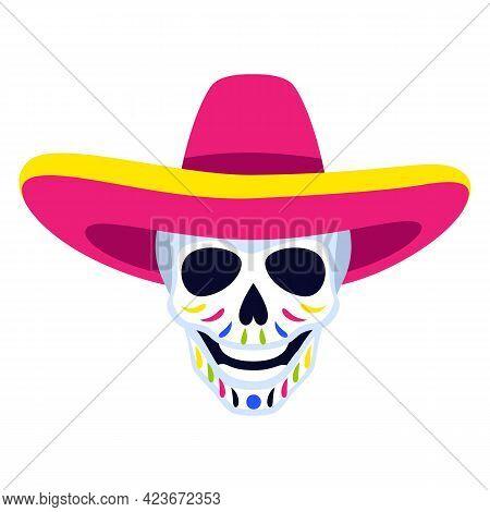 Traditional Mexican Head Skull. Dia De Los Muertos. Day Of The Dead Symbol With Sombrero.