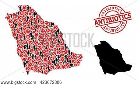 Collage Map Of Saudi Arabia Organized From Virus Outbreak Elements And Demographics Icons. Antibioti