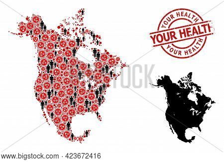 Mosaic Map Of North America United From Covid Virus Icons And Population Elements. Your Health Scrat