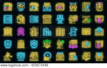 Notary Icons Set. Outline Set Of Notary Vector Icons Neon Color On Black