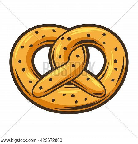 Illustration Of Baked Pretzel. Object In Engraving Hand Drawn Style. Old Element For Beer Festival O