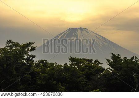 View Of Mount Fuji At Dusk, From The Fumaroles In Mount Hakone, Hakone, Kanagawa Prefecture, Japan.