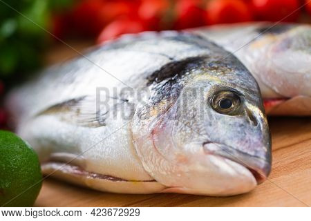 Raw Sea Bream Preparation With Herbs And Lemon