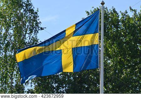 Swedish Flag Waving A Windy National Day