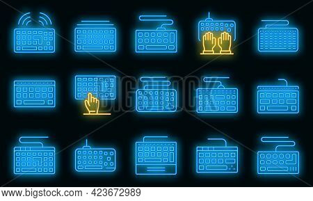 Keyboard Icons Set. Outline Set Of Keyboard Vector Icons Neon Color On Black