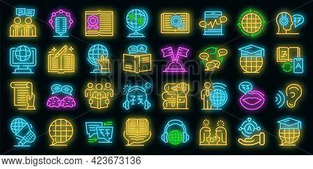 Translator Icons Set. Outline Set Of Translator Vector Icons Neon Color On Black