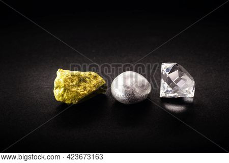 Nugget Of Gold And Silver Stone Stone With Cut Diamond Jewelry, Concept Of Rare Gemstones