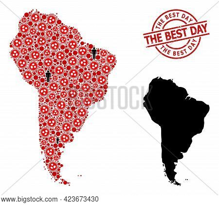 Mosaic Map Of South America Organized From Flu Virus Elements And Men Items. The Best Day Scratched