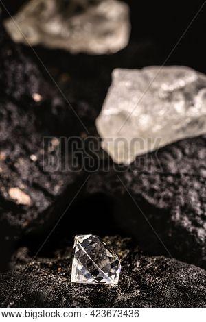 Diamond Mine With Rough And Cut Stones, Diamond Mining Concept
