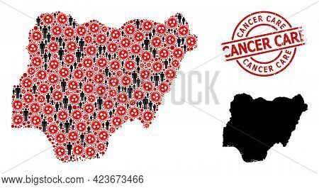 Collage Map Of Nigeria Organized From Coronavirus Items And Population Elements. Cancer Care Texture