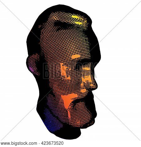 Old Man Face Portrait. 3d Greed Wireframe Head Vector Illustration
