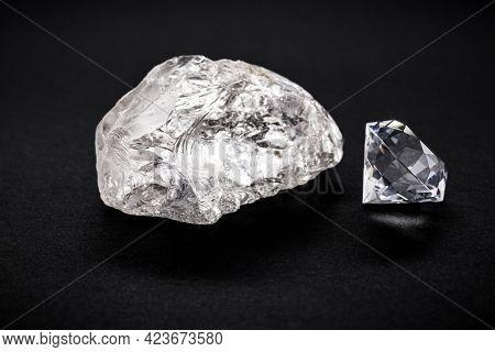 Cut Diamond With Rough Diamond Gem, On Isolated Background, Diamond Business Concept.