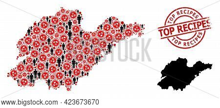 Mosaic Map Of Shandong Province Composed Of Sars Virus Icons And Population Items. Top Recipes Distr