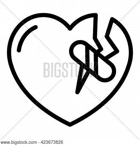 Broken Heart Icon. Outline Broken Heart Vector Icon For Web Design Isolated On White Background
