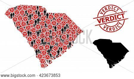 Mosaic Map Of South Carolina State Constructed From Flu Virus Icons And Humans Icons. Verdict Grunge