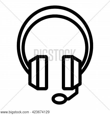 Smart Office Headset Icon. Outline Smart Office Headset Vector Icon For Web Design Isolated On White