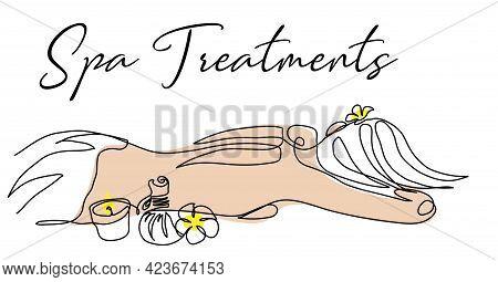 Thai Massage Vector Illustration For Signboard, Banner, Poster, Background. Womans Back, Candle, Her