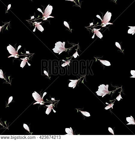Seamless Pattern Of Realistic Magnolia Flower. The Magnolia Branch Is A Symbol Of Spring, Summer In