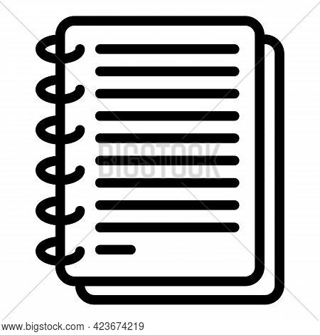 Smart Office Notebook Icon. Outline Smart Office Notebook Vector Icon For Web Design Isolated On Whi