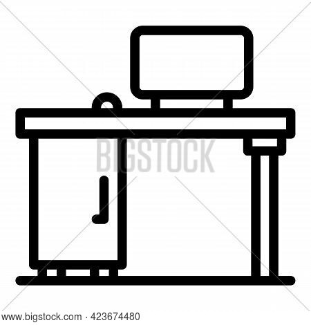 Smart Office Workspace Icon. Outline Smart Office Workspace Vector Icon For Web Design Isolated On W