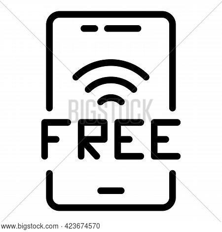 Smartphone Free Wifi Icon. Outline Smartphone Free Wifi Vector Icon For Web Design Isolated On White