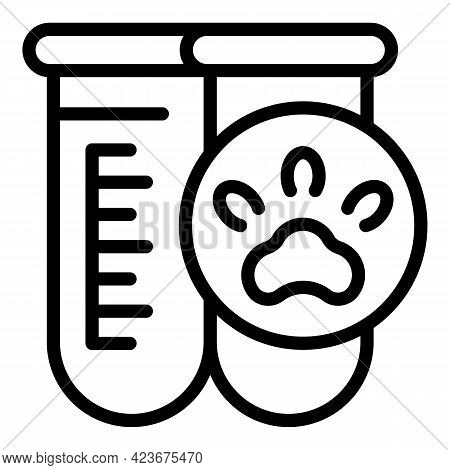Veterinary Clinic Test Tube Icon. Outline Veterinary Clinic Test Tube Vector Icon For Web Design Iso