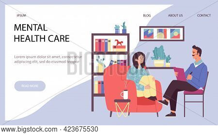 Web Banner With Male Psychologist And Young Woman Having Mental Problem, Stress Or Depression. Docto