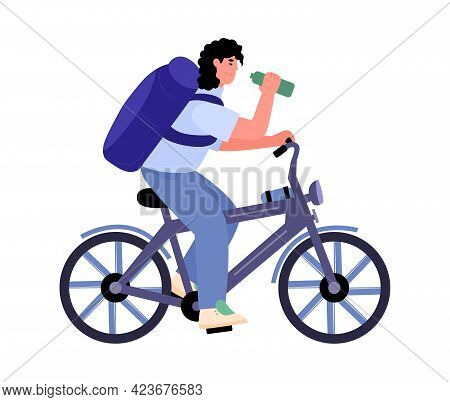 Mountain Bicycle Rider On Bike Trip, Flat Cartoon Vector Illustration Isolated.