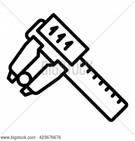Digital Micrometer Scale Icon. Outline Digital Micrometer Scale Vector Icon For Web Design Isolated