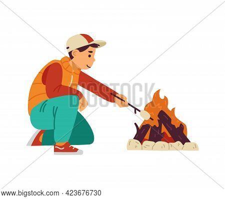 Kid Boy Roast Marshmallows At Bonfire In Camping A Vector Illustration