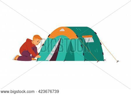 Child Camper Or Boy Scout Setting Tourist Tent, Vector Illustration Isolated.