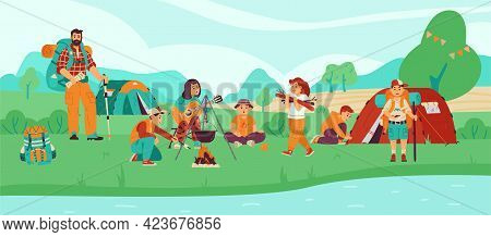 Children Scouts Or Campers At Campsite In Forest, Flat Vector Illustration.