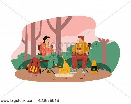 Couple Sitting By Campfire At Forest Campsite, Flat Vector Illustration Isolated.