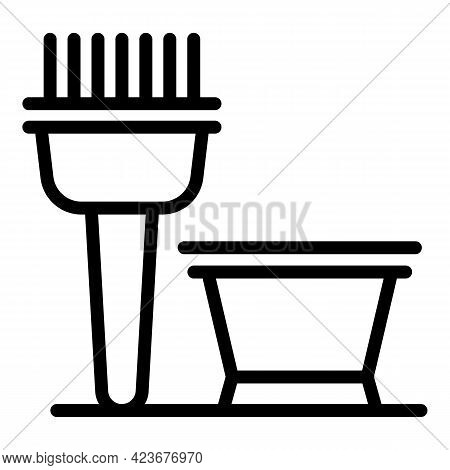 Curly Hair Paint Brush Icon. Outline Curly Hair Paint Brush Vector Icon For Web Design Isolated On W