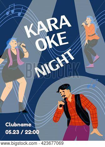 Karaoke Night Advertising Poster With Singing People, Flat Vector Illustration.
