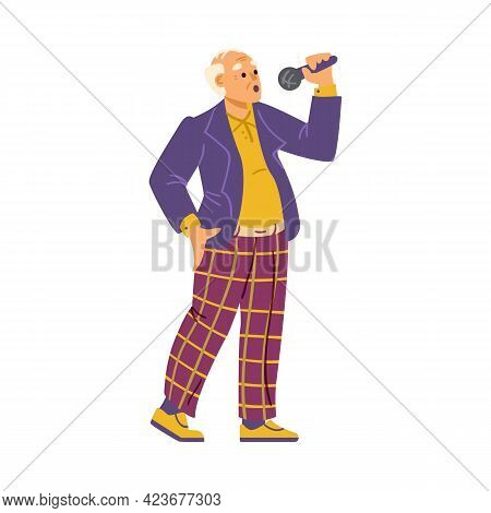 Elderly Senior Man Singing With Microphone, Flat Vector Illustration Isolated.