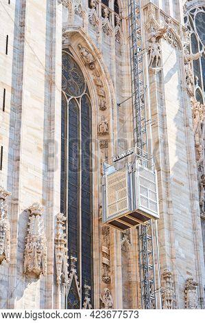 Milan, Italy - July 7, 2020. Duomo Cathedral Building During Reconstruction, Building Facade Renovat