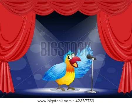 Illustration of a colorful parrot at the center of the stage