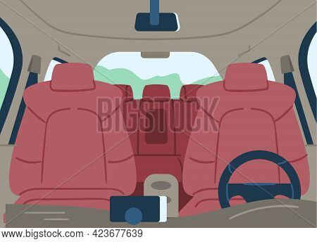Empty Car Cabin Or Interior View From Windshield, Flat Vector Illustration.