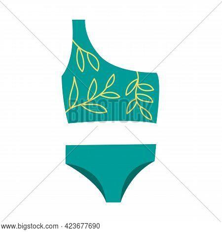 Stylish Female Swimsuit. Fashionable Swimwear With Branches. Bikini Top And Bottom. Flat Vector Illu